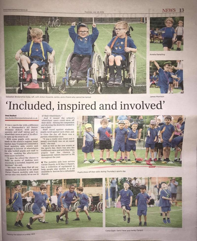 All saints newspaper artical - included inspired and involved